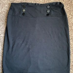 Women's black skirt with accent buttons